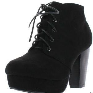 Black Lace Up Heel Booties